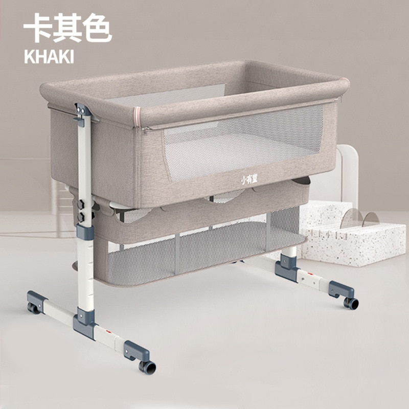 Portable Removable Crib Foldable High and Low Adjusting Stitching Large Bedside Bed Baby Lift enlarge
