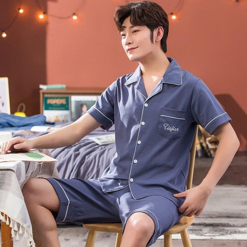 2021 Лето Плюс Размер 100% 25 Хлопок С короткими рукавами Пижама Комплекты для Мужчин Пижамы Костюм Мужской Домашняя одежда