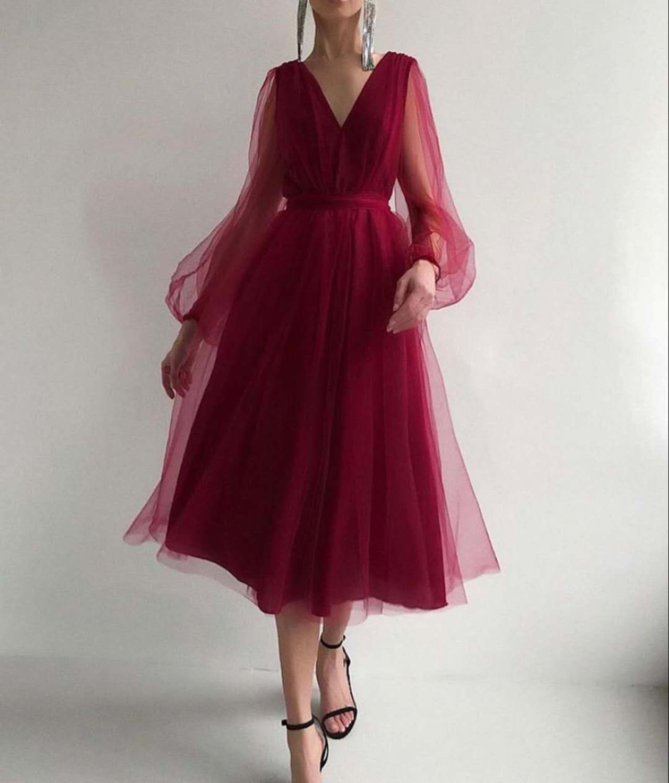 Missord 2020 Solid Color Sexy Deep V Neck Long Lantern Sleeve Women Midi Dress Mesh Elegant Women A Line Summer Dresses MQ382
