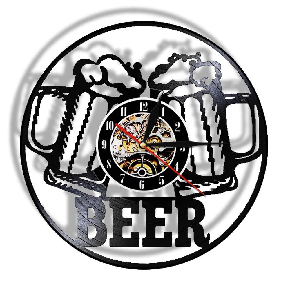 Reloj de pared con grabación de vinilo para Bar y cerveza, cronógrafo...