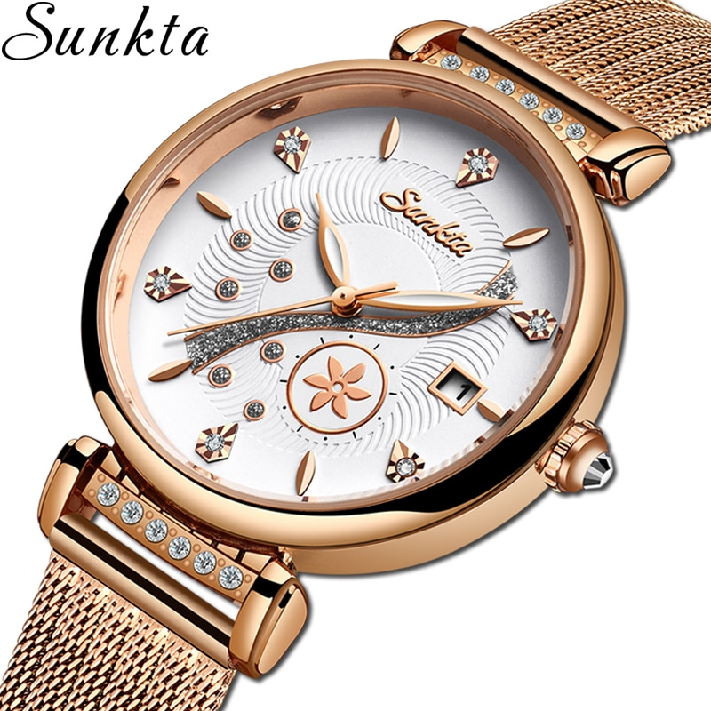 SUNKTA 2021 Gift Creative Simple Quartz Watch Women's Dress Steel Mesh Watches New Clock Ladies Bracelet Watch relogios feminino enlarge