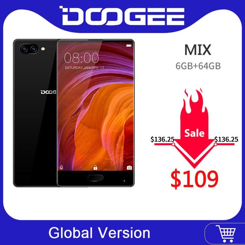 100% Original DOOGEE mezcla Smartphone Android 7,0 cámaras duales 5,5 pulgadas AMOLED MTK Helio P25 Octa Core 6GB + 64GB LTE 3380mAh 16.0MP