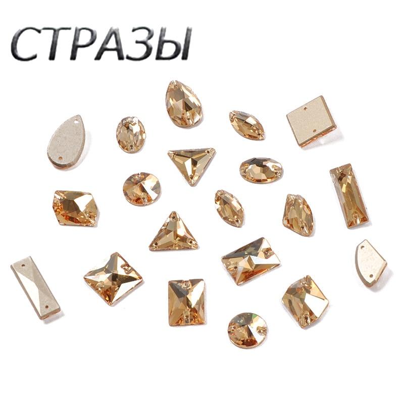 AliExpress - Mixed Shapes Sew on Stones 001GSHA Crystal Golden Shadow Rhinestones Sew on buttons DIY garment Craft Dress Rivoli Drop Strass