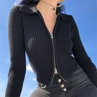 spring solid knitted top for women 2021 new casual zipper bottom open stitch half high collar ladies slim chic tops