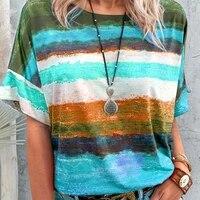 stripe tie dye o neck short sleeve women t shirt casual streetwear fashion summer loose oversized female tops