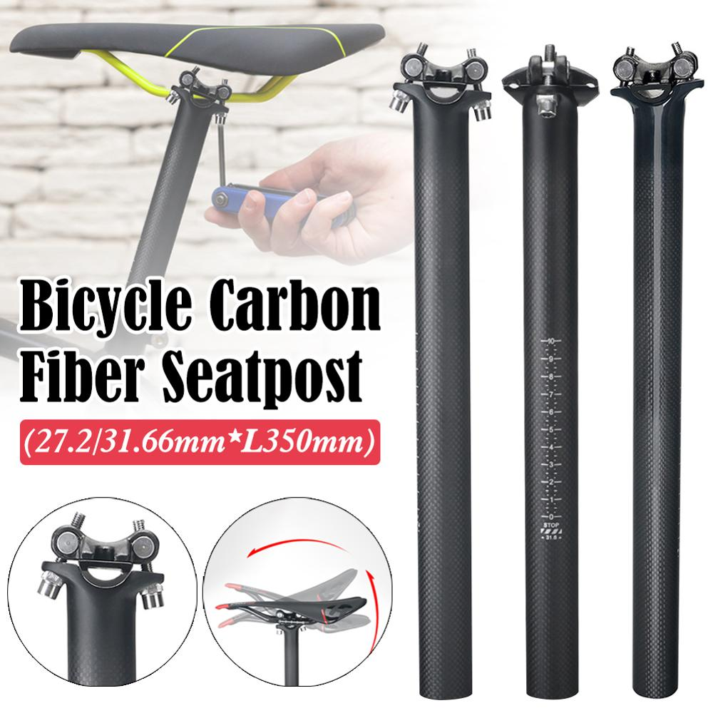 Sillín de bicicleta 27,2*350mm fibra de carbono ajustable MTB Road Bikes asiento Post 31,6*350mm asiento de ciclismo tubo