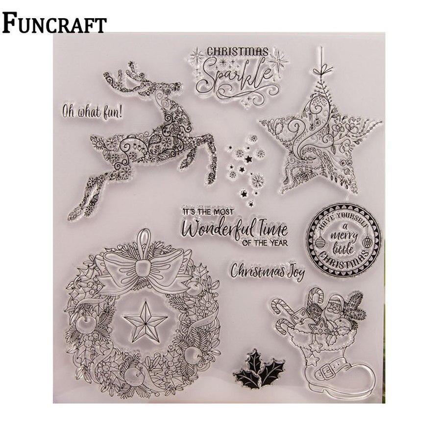 Christmas Deer Snow gwiazda kwiatowa wieniec kwiatów liście litery wyczyść znaczki na tworzenie kartek Scrapbooking boże narodzenie silikonowe stemple