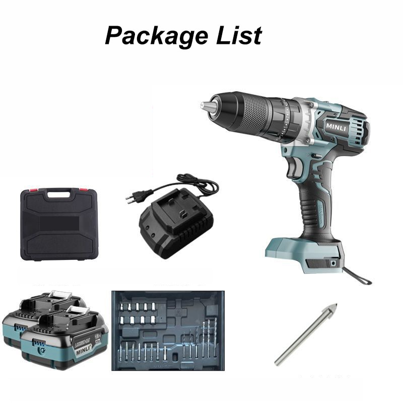 Minli Electric Hand Drill Impact Electric Drill Household Lithium Battery Pistol Drill enlarge