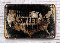 Grand panneau en metal en aluminium  signes Vintage  maison douce  USA  12  X 8