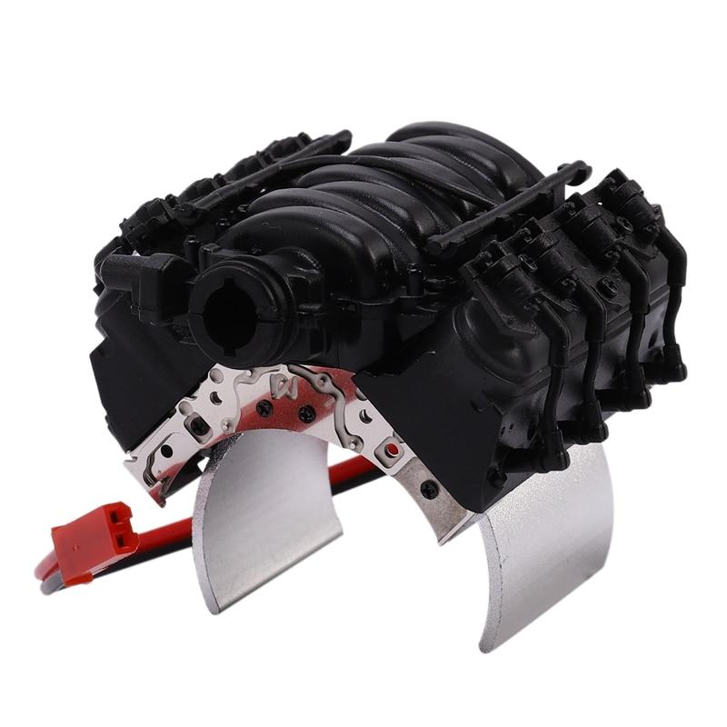 RC Model Car V8 Engine Hood Radiator with Motor Sink Radiator RC Simulation Accessories for 1/10Th Scale RC Crawler Car TRX4