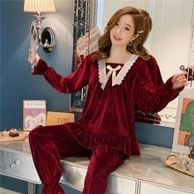 Long Sleeve Pleuche Pajamas Women's Spring, Autumn and Winter Cute Internet Hot Korean Princess Styl