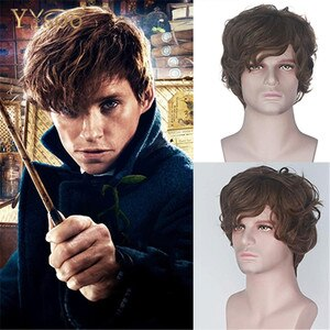 YYsoo Short Brown Cosplay Wigs Male Mens Short Curly Fluffy Brown Wig Bangs Halloween Cosplay Costume Synthetic Wigs For Men