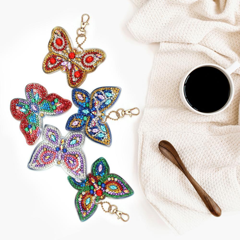 HeeBenor tienda diamante llaveros mariposa patrón moda diamante llaveros DIY bolsa colgante joyería cumpleaños Regalos YSK28