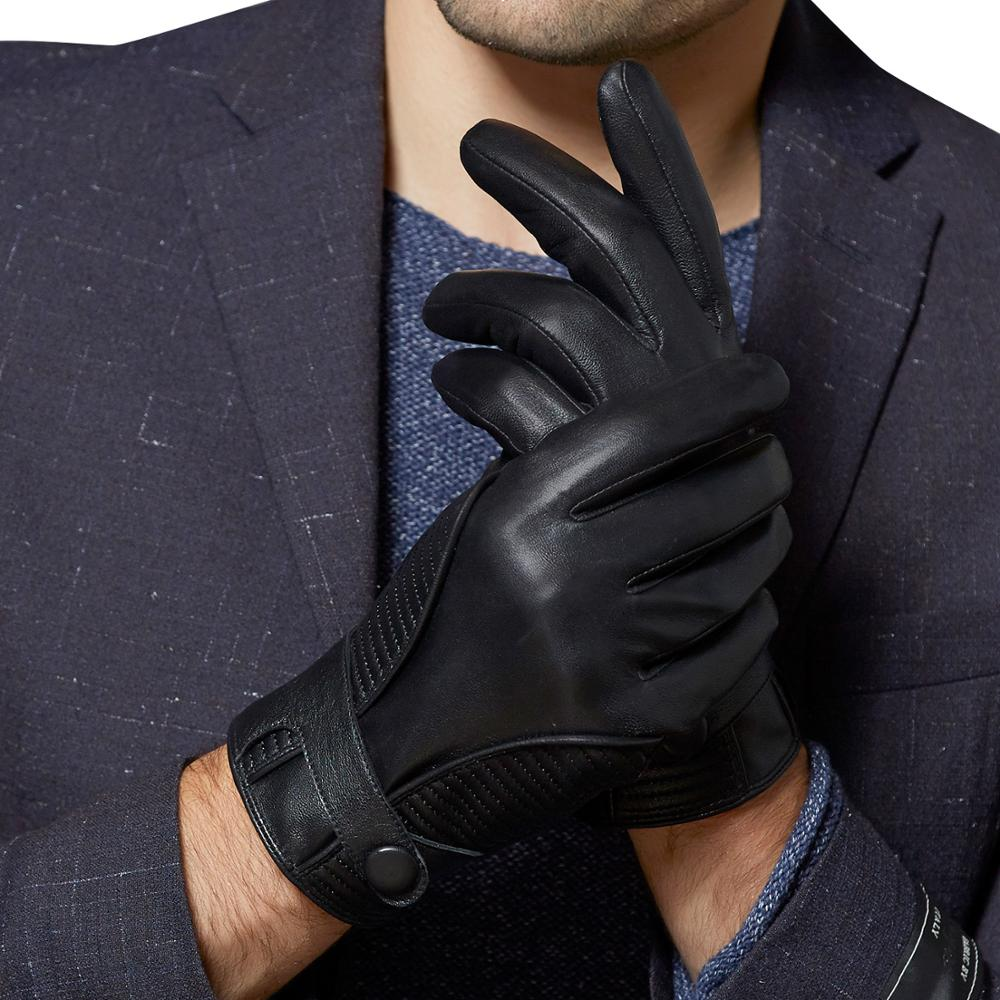 Fioretto Men Winter Leather Gloves Warm Cashmere Lined Touch Screen Leather Gloves  Fashion Driving  Leather Gloves gsg women winter leather gloves mittens knitted lined driving gloves handmade warm ladies fashion touch screen gloves black