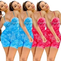 womens 2021 summer sexy printed tie dye rompsuit spaghetti straps sleeveless backless tight rompsuit womens rompsuit