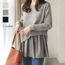 Korean Fashion Women Knitting Sweater Solid Color Splicing Round Neck Irregular Long Sleeve Simplici
