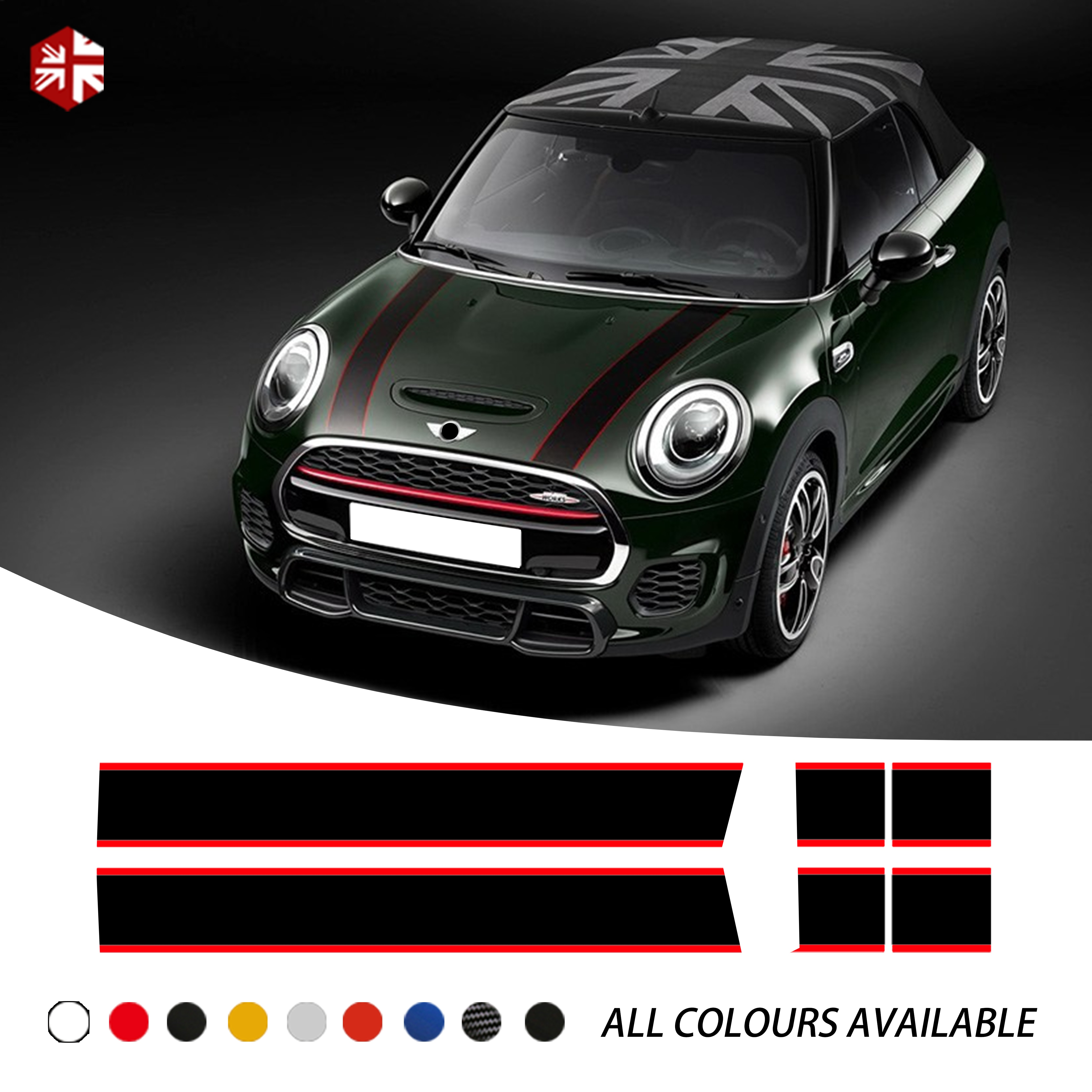 Calcomanía para capó de auto cubierta del motor línea trasera vinilo Bonnet Stripe Sticker para MINI Cooper F55 F56 F57 R56 R57 One JCW Accesorios