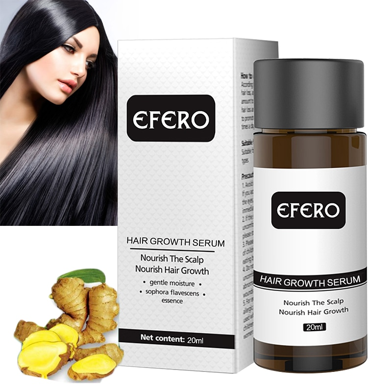 EFERO Fast Powerful Ginger Hair Growth Essence Hair Loss Products For Hair Growth Serum Beard Growth Essence Health Care 20ml