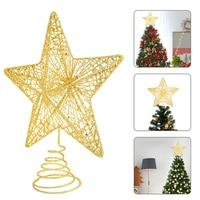 Золотая Рождественская елка с блестками, железные звезды, рождественские украшения для дома, Рождественские елочные украшения, новый год ...