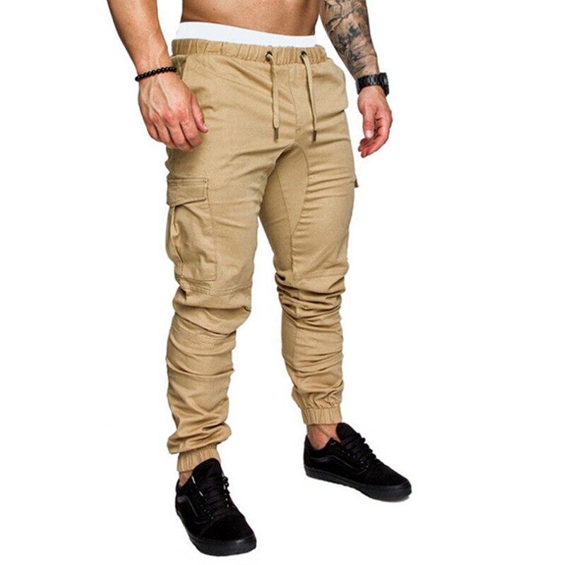 Cargo pantalon hommes pantalon de survêtement décontracté solide gris noir gymnases Fitness pantalon dentraînement survêtement hommes multi-poches vêtements de sport pantalon homme