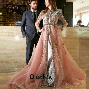 Nude Pink Moroccan Kaftan Evening Dresses Appliques Lots Beaded Sashes Arabic Muslim Special Occasion Formal Party Gown