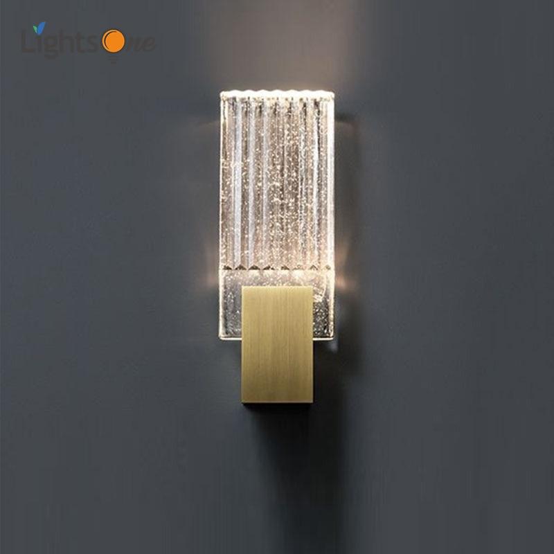 مصباح حائط كريستالي حديث وبسيط لغرفة المعيشة ، مصباح جداري مصمم على الطراز الأمريكي بجانب السرير والدراسة