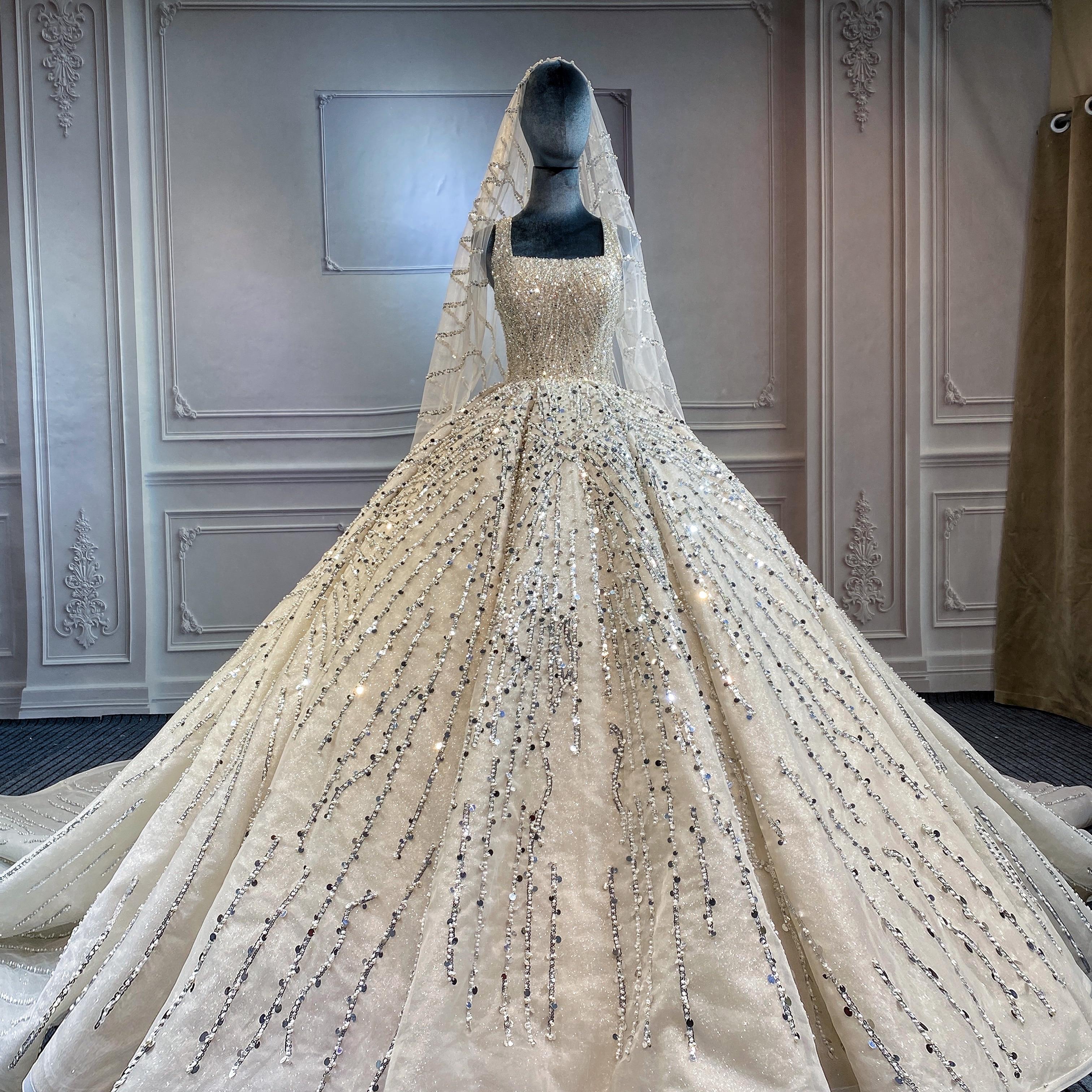 Marnham Princess Lace Strap Wedding Dress For Bride 2021 Sleeveless Ball Gown Bridal Dresses