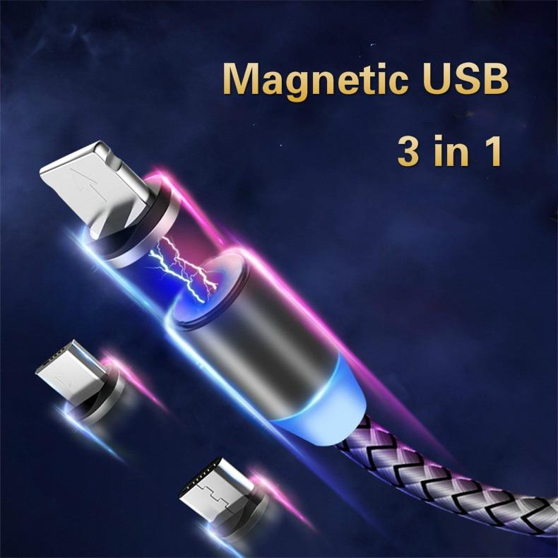 Bozhu tipo magnético USB tipo C-C Cable para Huawei imán Cable de carga USB para iPhone iPad USAMS Micro USB para Samsung xiaomi