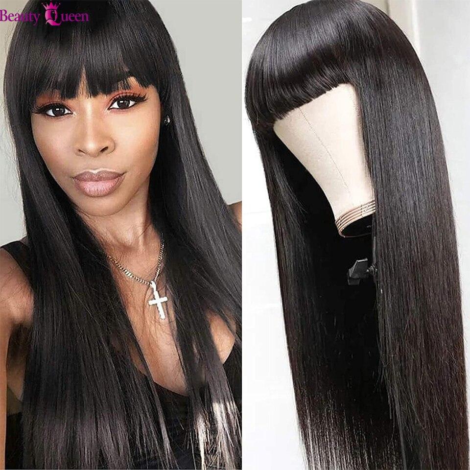 Человеческие волосы перуанские прямые человеческие волосы парики с челкой Предварительно Прикрепленный машинный парик для чернокожих жен...