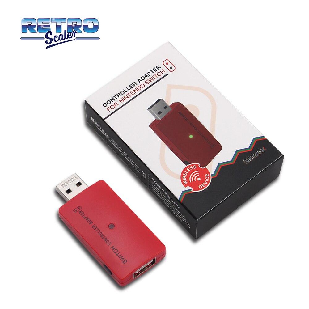 RetroScaler czerwony bezprzewodowy Bluetooth USB kontroler konwerter Adapter do Nintendo przełącznik, aby PS4/PS3/PlayStation Pro/konsoli Xbox One S/X