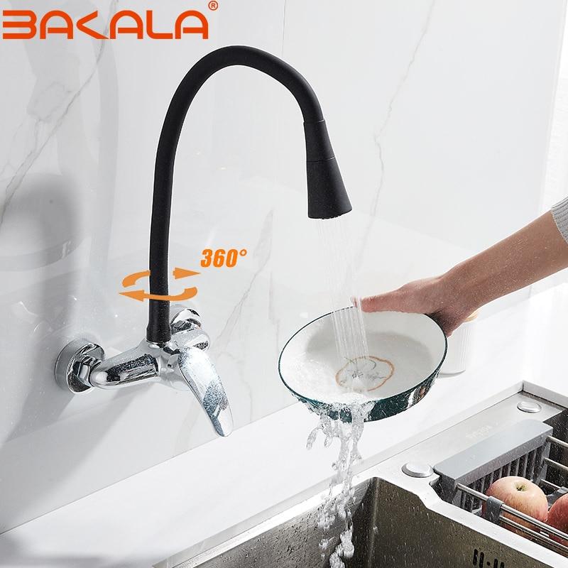 Настенный кухонный кран, латунный поворотный спрей, кран для раковины, с одной ручкой, двойное отверстие, смеситель для холодной и горячей в...