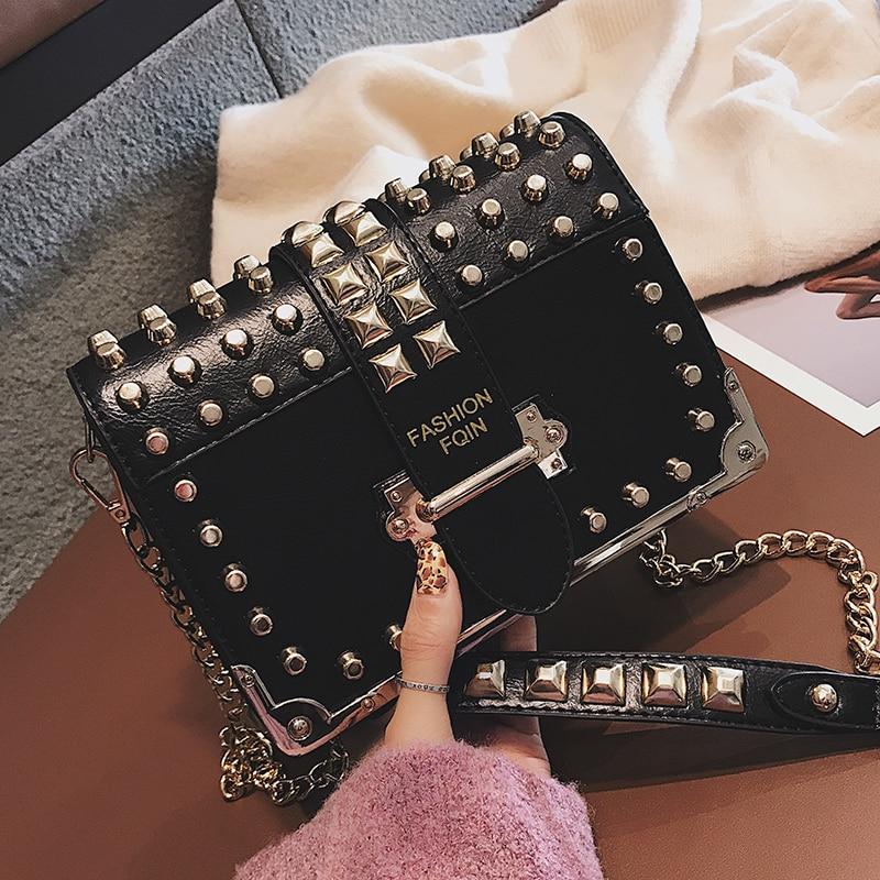 Luxury Brand Vintage Rivet Bag Punk Fashion New High Quality PU Leather Women's Designer Handbag Chain Shoulder Messenger Bags