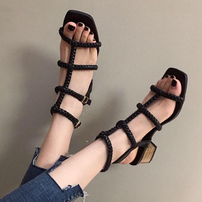 Sandalias tejidas a la moda para Mujer, Sandalias de gladiador de verano para Mujer, zapatos con punta abierta y Tacón cuadrado, Sandalias con hebilla para Mujer 2020