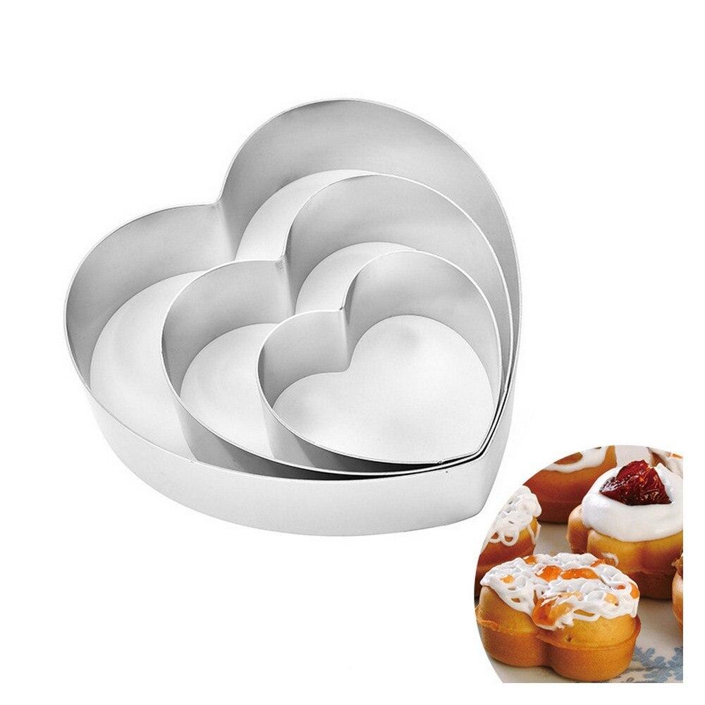 3 قطعة على شكل قلب الفولاذ المقاوم للصدأ كعكة العفن كوكي أقراص سكرية موس حلقة الخبز أداة كعكة العفن المعجنات اكسسوارات CakeTools