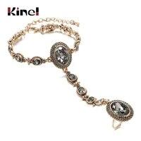 kinel luxury boho charm bracelet link ring for women 585 alloy gold color crystal flower link bracelets vintage wedding jewelry