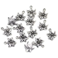 20pcs pendants easter lily flower metal silver tone for charms bracelets jewelry diy findings 16x13mm