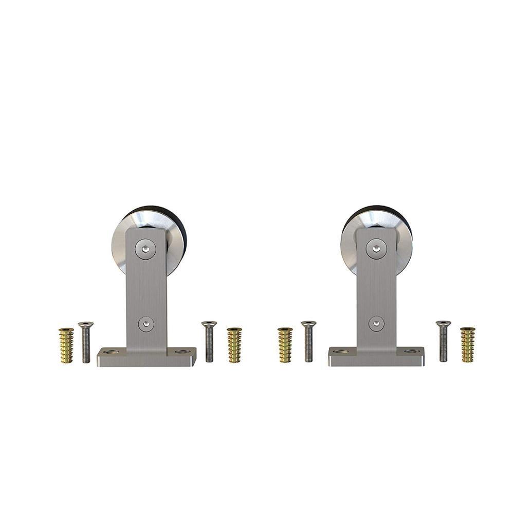 2 rodillos de percha de acero inoxidable cepillados deslizantes para puerta de Granero, rueda básica de montaje superior