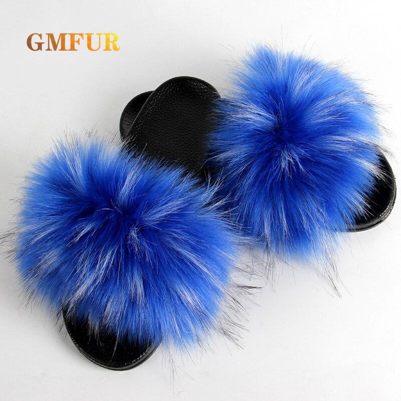 Cute house Slippers Women Summer New flip flops Faux Fur furry Slides flats Fluffy Indoor Outdoor lu