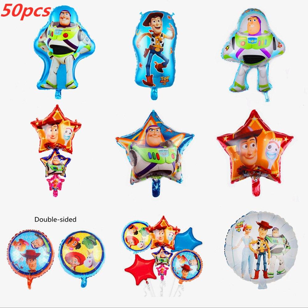 50 Uds venta al por mayor 18 pulgadas ronda juguete historia Woody Buzz Lightyear globos de papel de aluminio bebé decoraciones para fiesta de cumpleaños de los niños de helio bolas de juguete