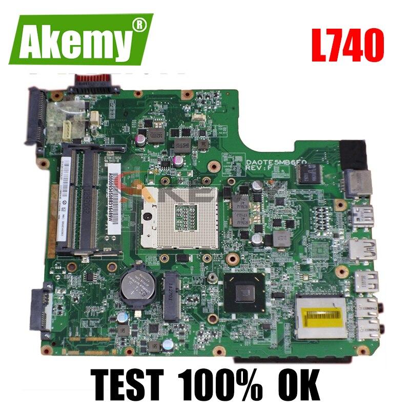 AKEMY DA0TE5MB6F0 A000074690 اللوحة الأم للكمبيوتر المحمول توشيبا الأقمار الصناعية L740 L745 HM65 DDR3 اللوحة الرئيسية اختبار كامل