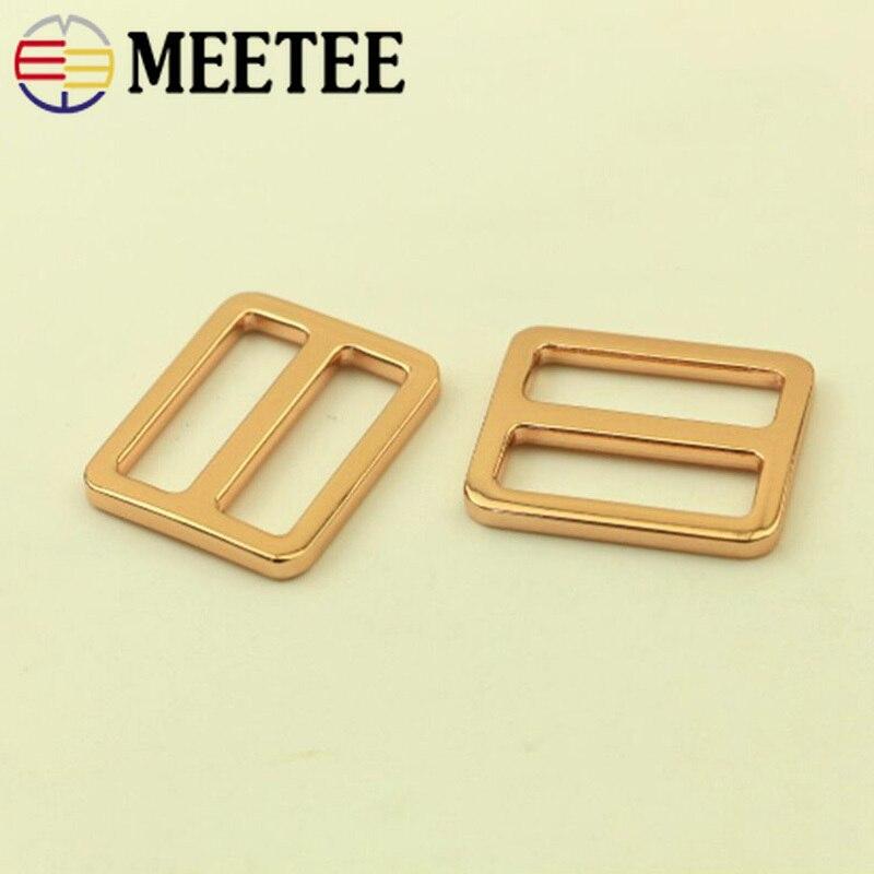 Meetee 5/10pc 25/32mm hebilla tri-gilde de Metal rosa oro Correa ajuste gancho cierre DIY cinturón anillo accesorios para hebillas