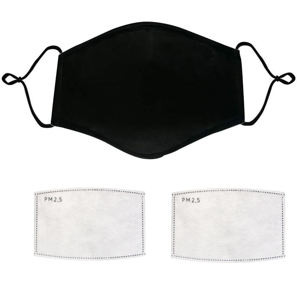 frienvita whitening filter mask set 1 + 2 Filters Washable Black Mask Set Mouth Face Mask Anti PM2.5 Dust Mouth Mask Activated Carbon Filter Mask Fabric Cotton Mask
