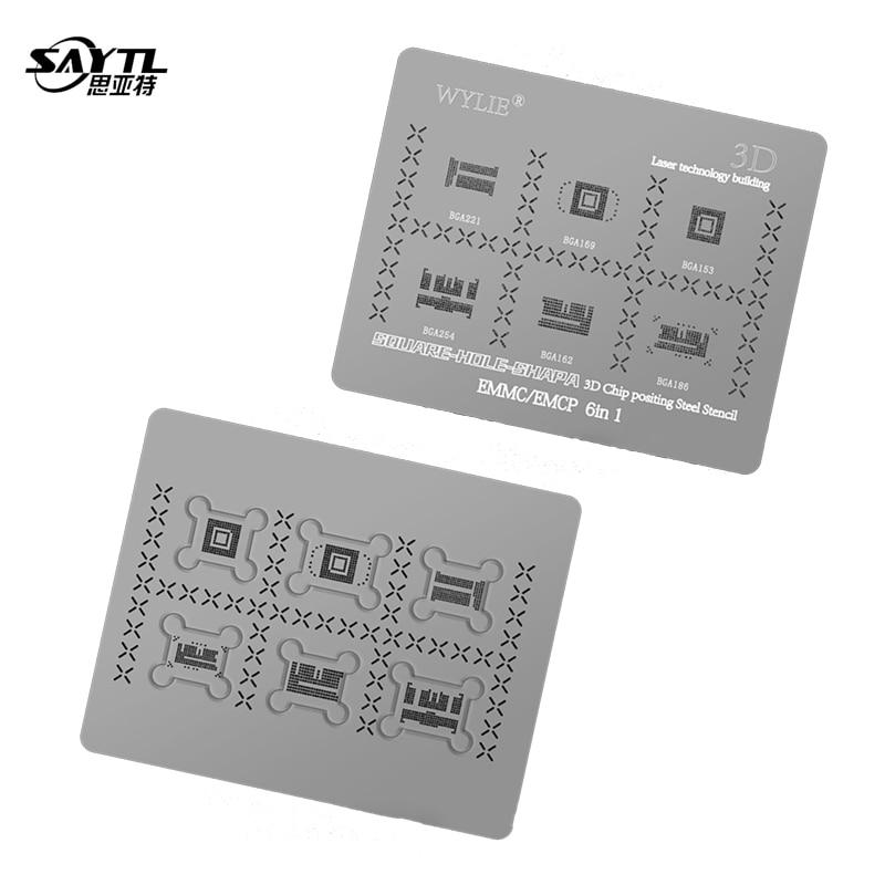 SAYTL – pochoir 3D 6 en 1, pour BGA 153/BGA221/BGA169/BGA254/BGA162/BGA186 EMMC EMCP BGA, modèle à chaleur directe