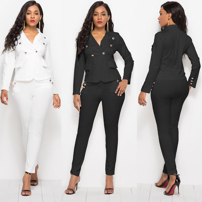 Negro Blanco mujeres botón Nail Bead 2 uds traje elegante Blazer chaqueta abrigo lápiz Slim pantalones largos de mujer trajes estilo Inglaterra
