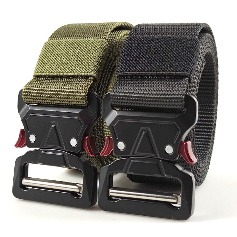 excellent elite spanker outdoor tactical molle nylon patrol waist belts army military accessories jungle hunting combat men belt 125CM Military Tactical Belt Men Army Nylon Belts Adjustable Heavy Buckle Outdoor Police Hunting Combat Training Sport Belt
