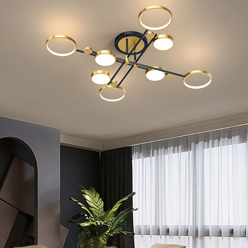 Lámpara de araña moderna para sala de estar, marco de aluminio, iluminación...