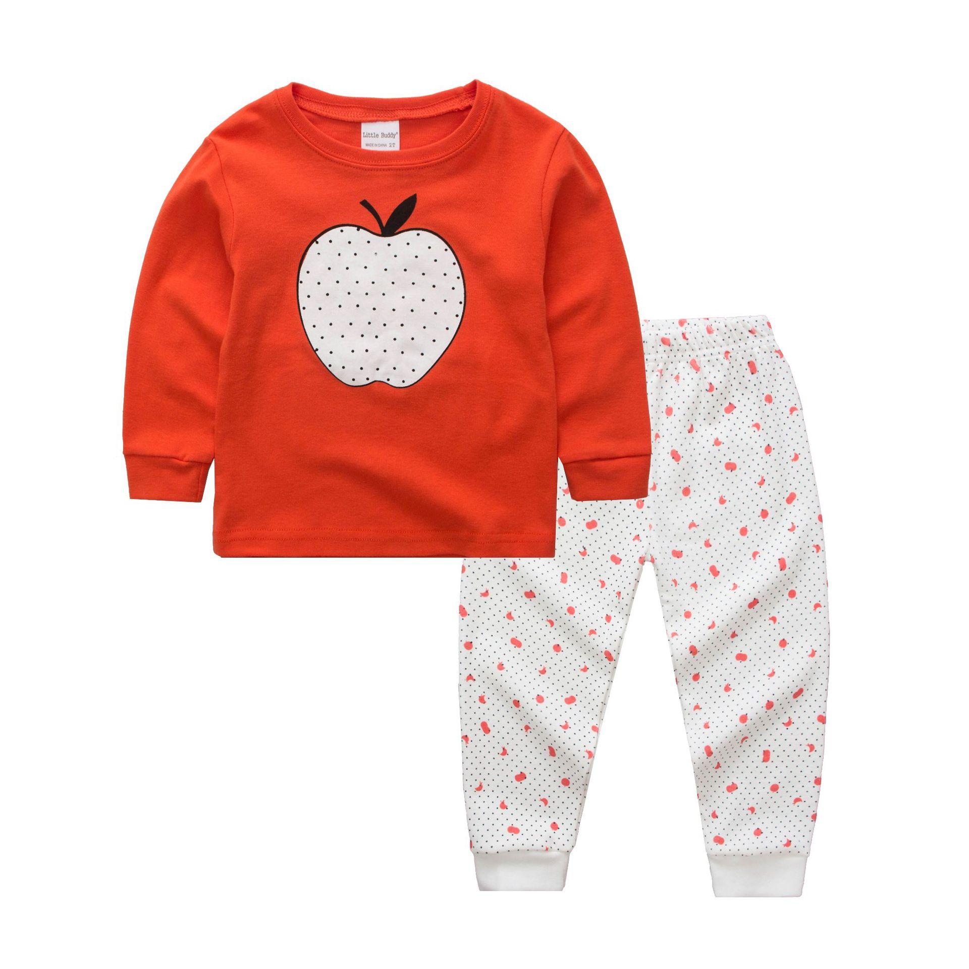 Niños Pijamas Pijama de algodón para niños niña ropa de dormir primavera otoño ropa de manga larga Apple patrón 2-7y
