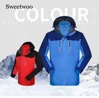 men winter jacket heated jacket softshell waterproof removable two piece feather fleece liner warm women camping hiking jacket