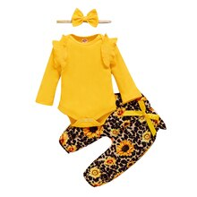 Newborn Baby Girl Set 0-18M Girls Long Sleeve Romper And Pants Headband Spring Toddler Girls Outfits