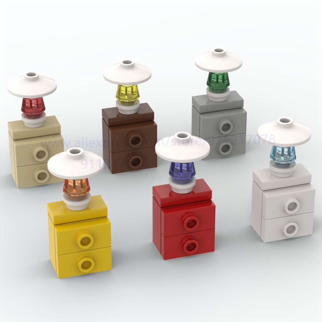 10set Building Block Nightstand with Table Lamp diy Brick for Room Decoration Cabinet Assembles Particles Creatives Children Toy